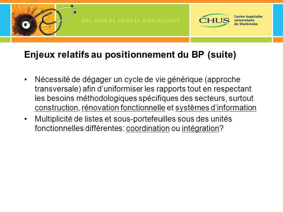 Enjeux relatifs au positionnement du BP (suite) Nécessité de dégager un cycle de vie générique (approche transversale) afin duniformiser les rapports