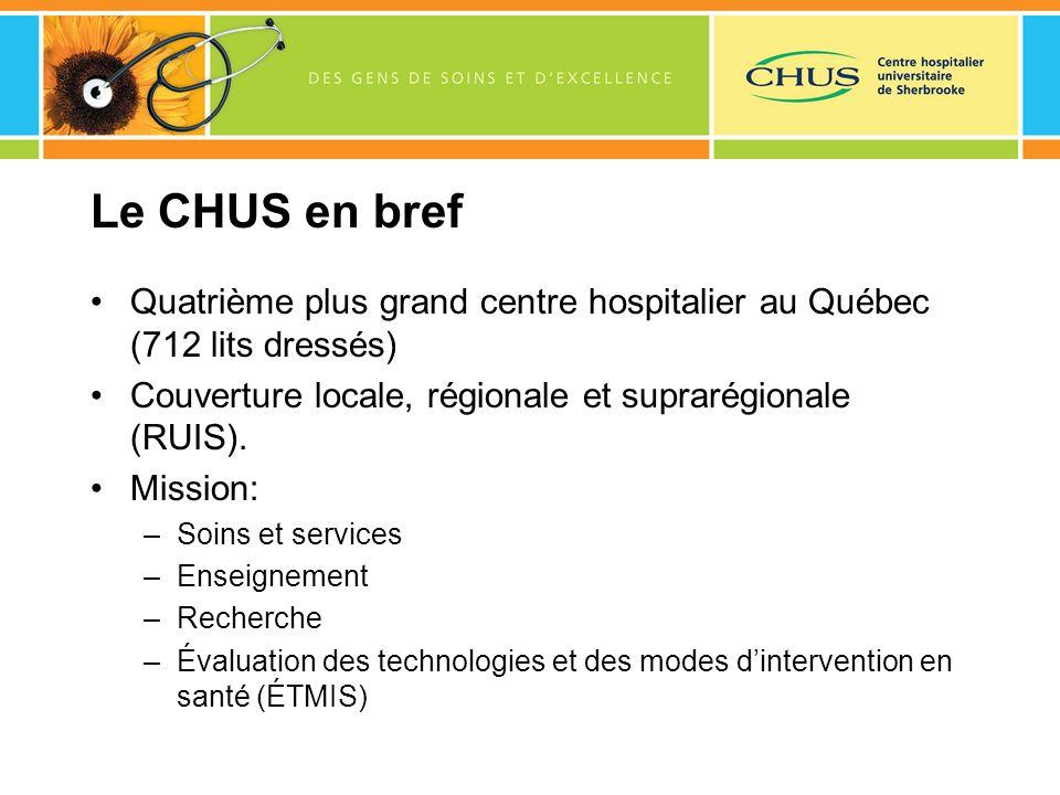 Le CHUS en bref Quatrième plus grand centre hospitalier au Québec (712 lits dressés) Couverture locale, régionale et suprarégionale (RUIS). Mission: –