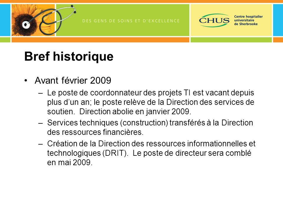 Bref historique Avant février 2009 –Le poste de coordonnateur des projets TI est vacant depuis plus dun an; le poste relève de la Direction des servic