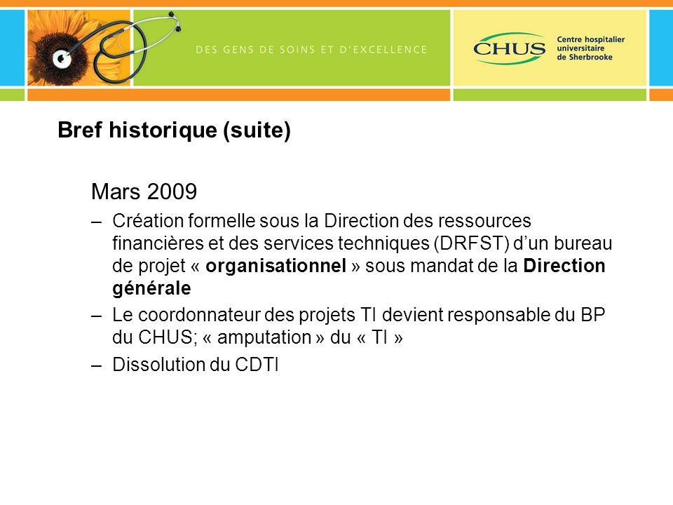 Bref historique (suite) Mars 2009 –Création formelle sous la Direction des ressources financières et des services techniques (DRFST) dun bureau de pro