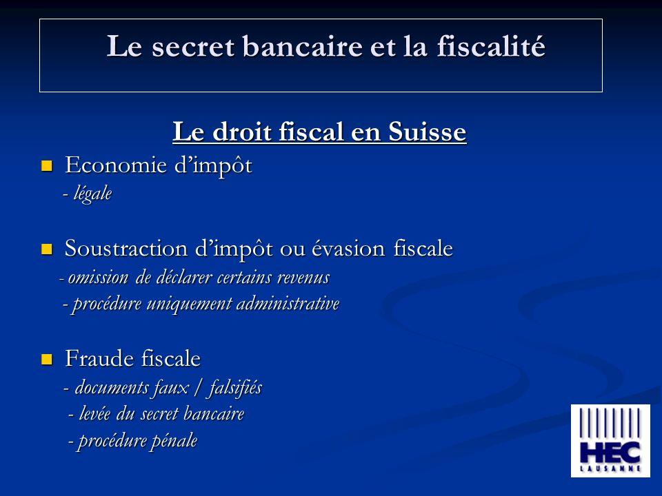 Le secret bancaire et la fiscalité Le droit fiscal en Suisse Economie dimpôt Economie dimpôt - légale - légale Soustraction dimpôt ou évasion fiscale Soustraction dimpôt ou évasion fiscale - omission de déclarer certains revenus - omission de déclarer certains revenus - procédure uniquement administrative - procédure uniquement administrative Fraude fiscale Fraude fiscale - documents faux / falsifiés - documents faux / falsifiés - levée du secret bancaire - levée du secret bancaire - procédure pénale - procédure pénale