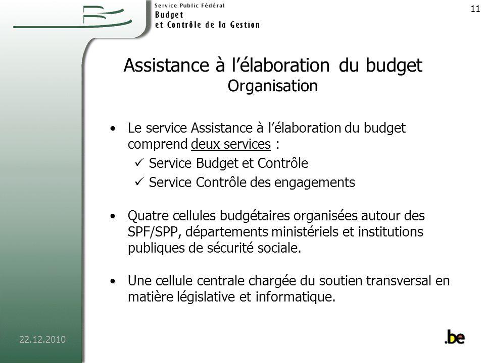 22.12.2010 12 Service Budget et Contrôle Missions Organiser la préparation technique du budget de lautorité fédérale et des institutions qui en dépendent.