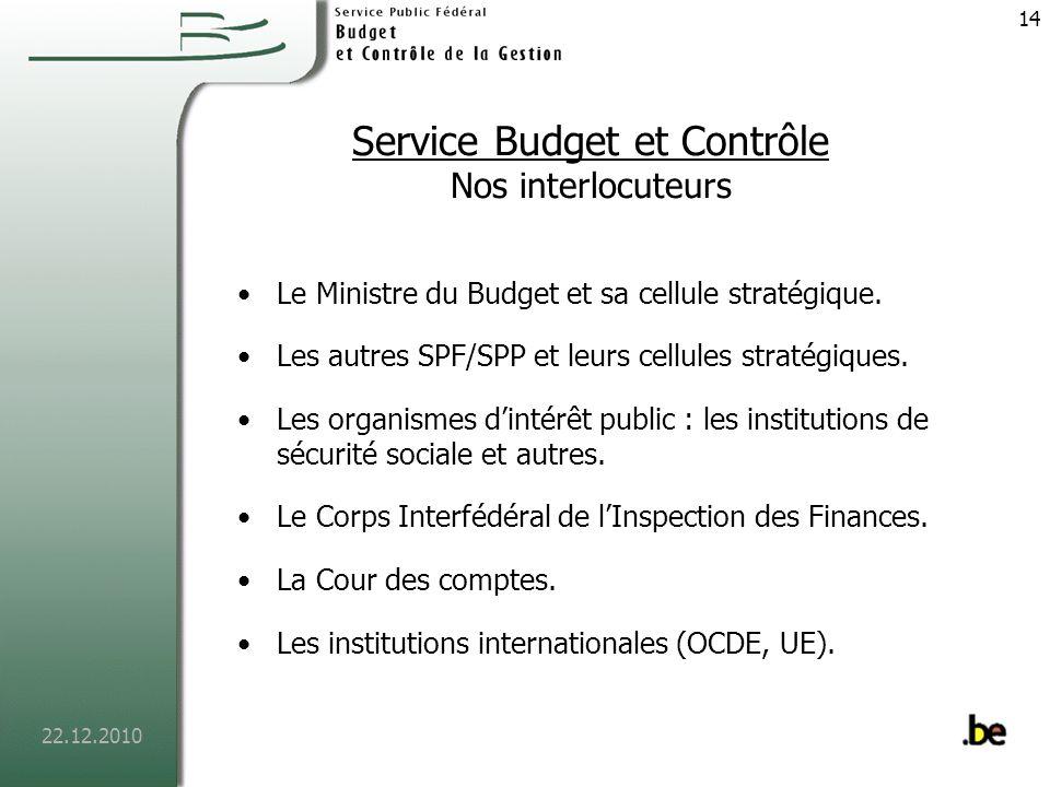 22.12.2010 15 Service contrôle des engagements Organisation Les contrôleurs des engagements sont affectés auprès des SPF/départements.