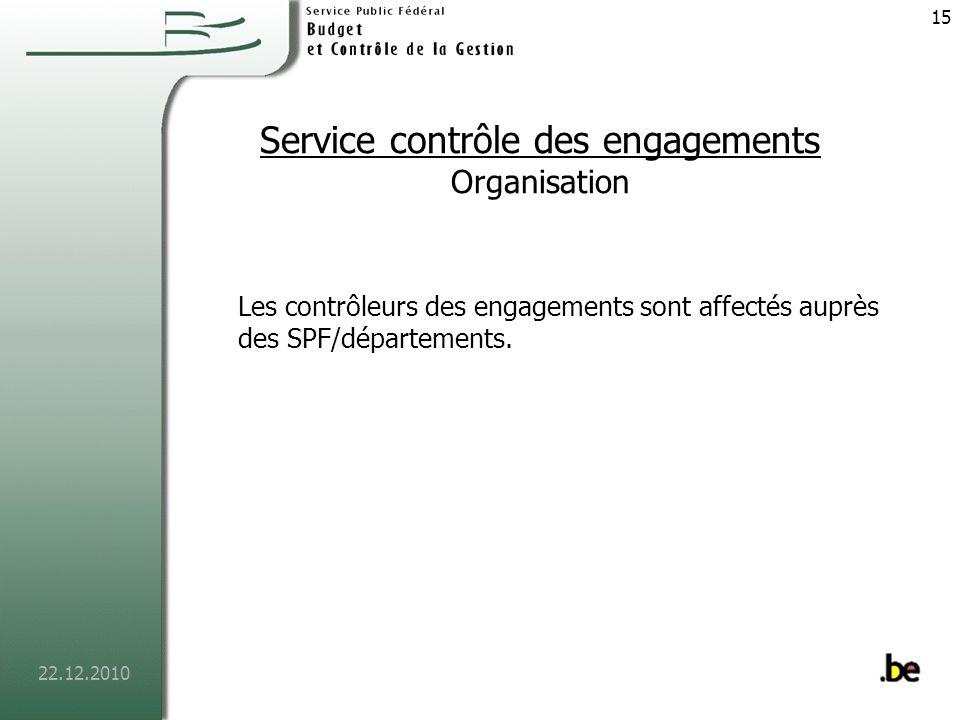 22.12.2010 16 Service contrôle des engagements Missions Ils sont chargés de la comptabilité des engagements et des ordonnancements.