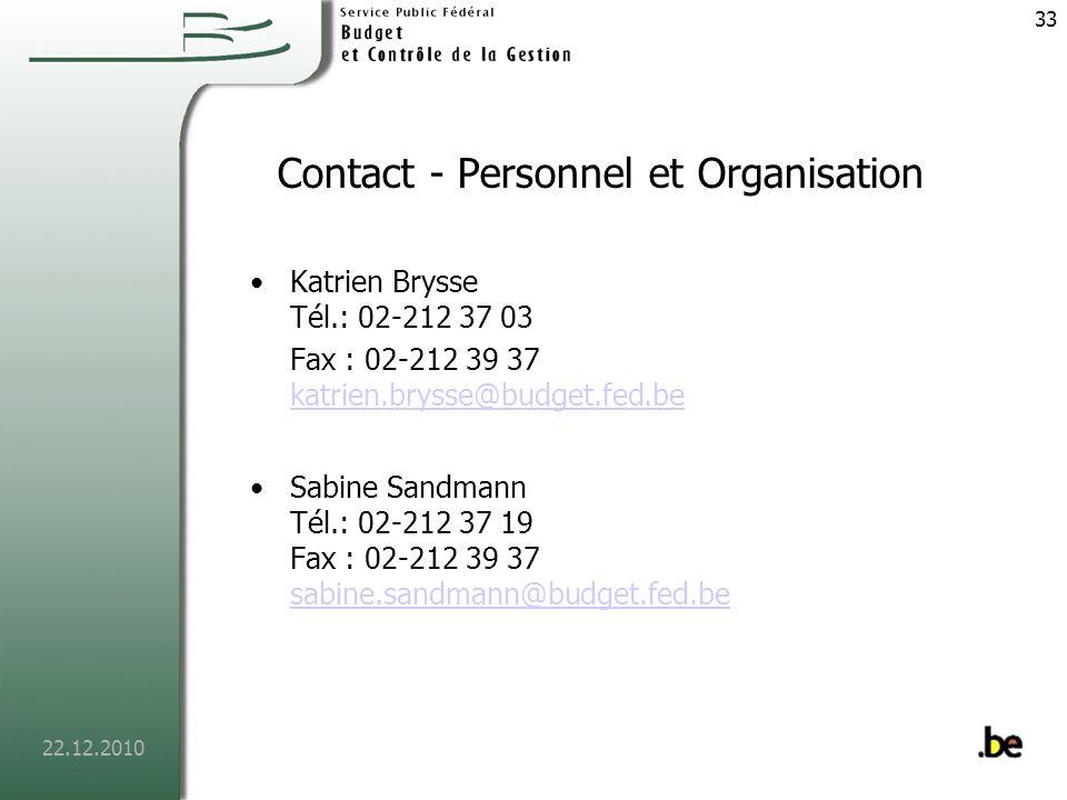 22.12.2010 34 Contact SPF SPF Budget et Contrôle de la Gestion Rue Royale 138/2 B - 1000 BRUXELLES Tél.: 02-212 37 11 Fax: 02-212 39 37 www.budgetfederal.be