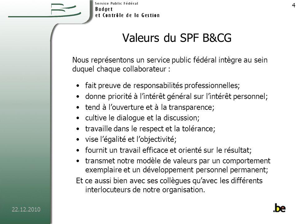 22.12.2010 5 Les services du SPF Budget et Contrôle de la Gestion
