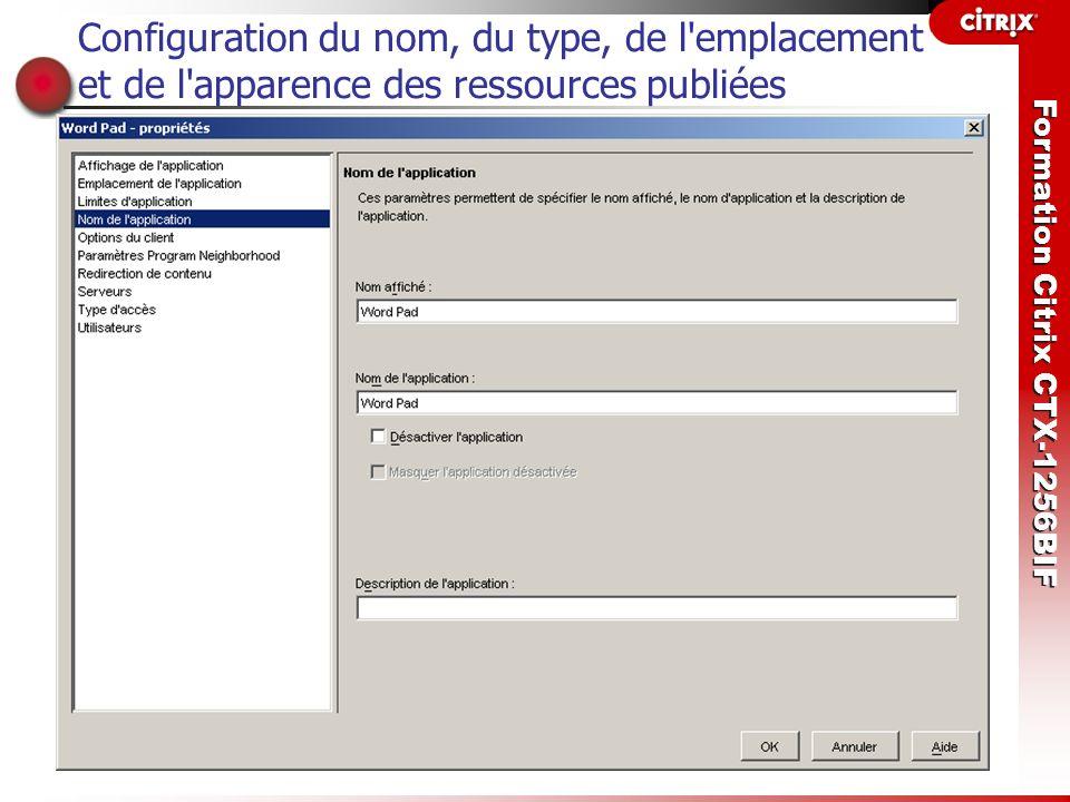 Formation Citrix CTX-1256BIF Configuration du nom, du type, de l'emplacement et de l'apparence des ressources publiées