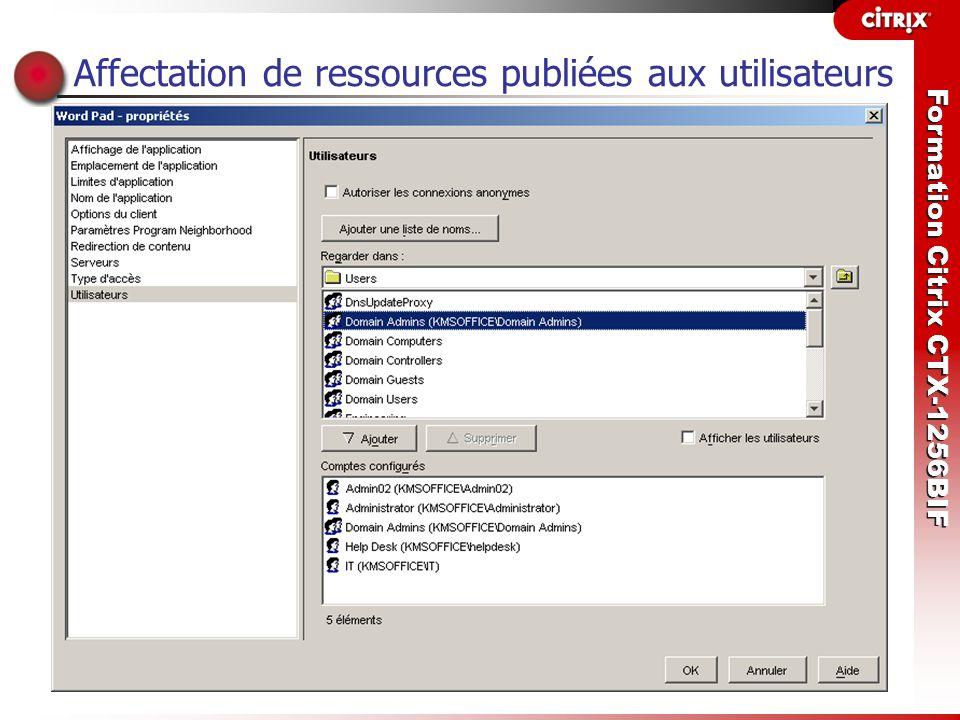 Formation Citrix CTX-1256BIF Affectation de ressources publiées aux utilisateurs