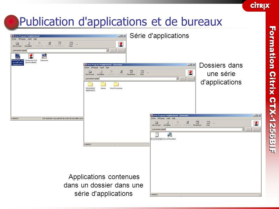 Formation Citrix CTX-1256BIF Publication d'applications et de bureaux Série d'applications Applications contenues dans un dossier dans une série d'app
