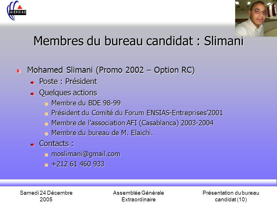 Samedi 24 Décembre 2005 Assemblée Générale Extraordinaire Présentation du bureau candidat (10) Membres du bureau candidat : Slimani Mohamed Slimani (P