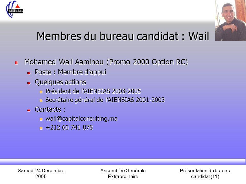 Samedi 24 Décembre 2005 Assemblée Générale Extraordinaire Présentation du bureau candidat (11) Membres du bureau candidat : Wail Mohamed Wail Aaminou (Promo 2000 Option RC) Poste : Membre dappui Quelques actions Président de lAIENSIAS 2003-2005 Président de lAIENSIAS 2003-2005 Secrétaire général de lAIENSIAS 2001-2003 Secrétaire général de lAIENSIAS 2001-2003 Contacts : wail@capitalconsulting.ma wail@capitalconsulting.ma +212 60 741 878 +212 60 741 878