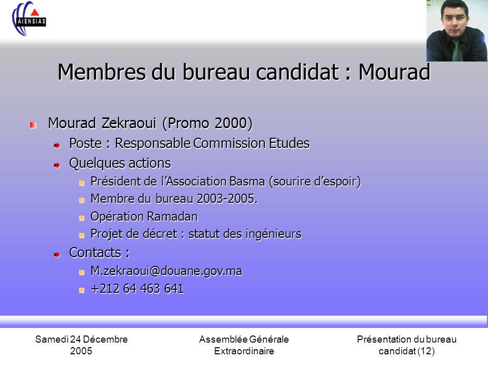 Samedi 24 Décembre 2005 Assemblée Générale Extraordinaire Présentation du bureau candidat (12) Membres du bureau candidat : Mourad Mourad Zekraoui (Pr