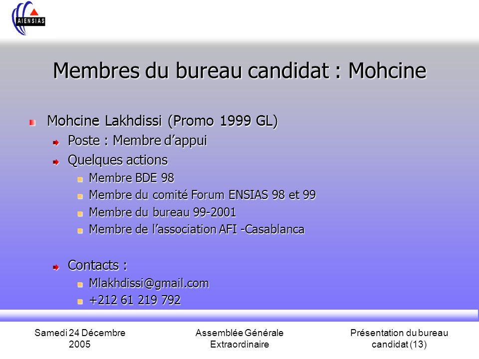 Samedi 24 Décembre 2005 Assemblée Générale Extraordinaire Présentation du bureau candidat (13) Membres du bureau candidat : Mohcine Mohcine Lakhdissi