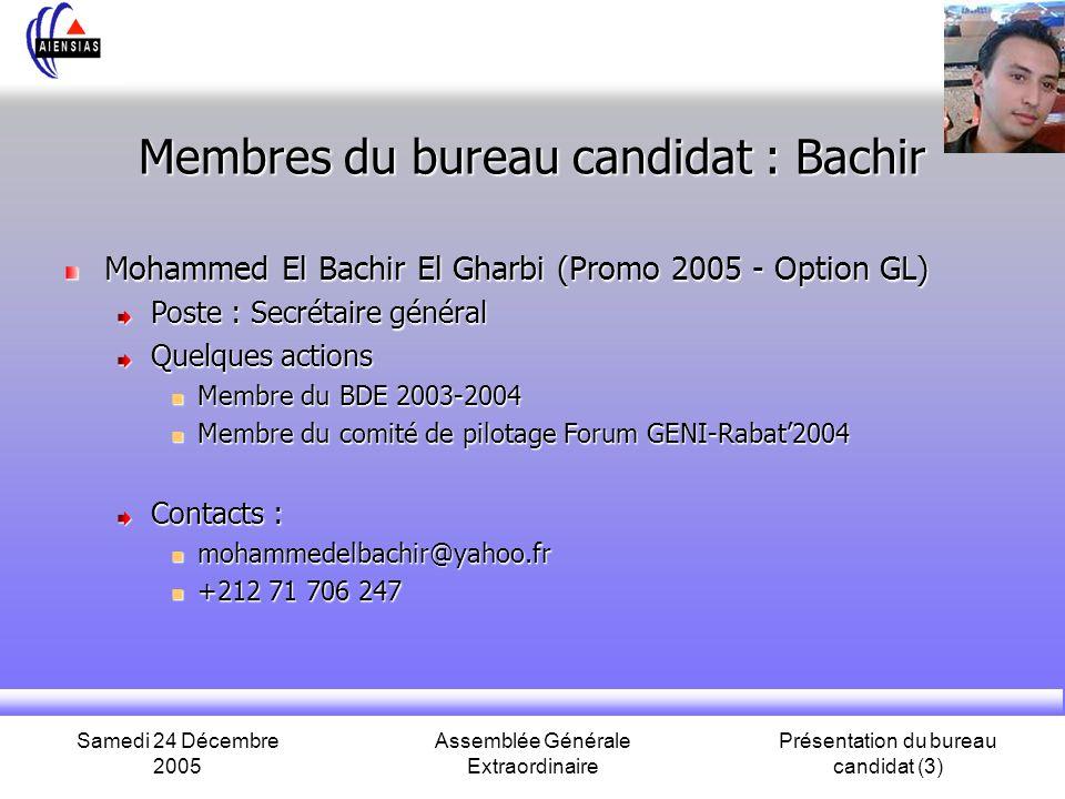 Samedi 24 Décembre 2005 Assemblée Générale Extraordinaire Présentation du bureau candidat (3) Membres du bureau candidat : Bachir Mohammed El Bachir E