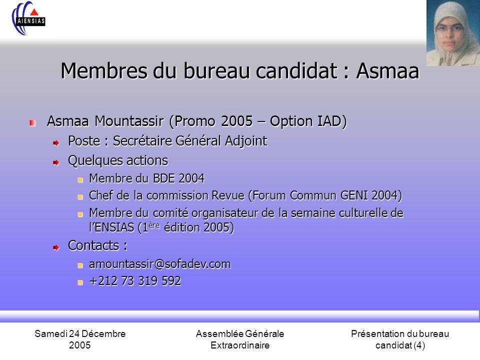 Samedi 24 Décembre 2005 Assemblée Générale Extraordinaire Présentation du bureau candidat (4) Membres du bureau candidat : Asmaa Asmaa Mountassir (Pro