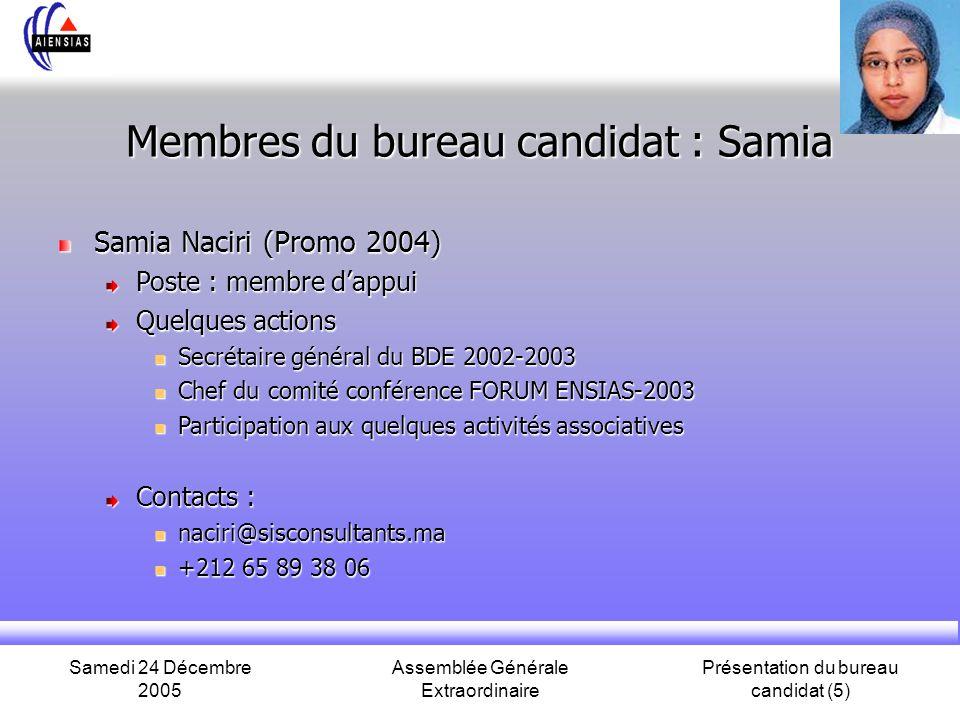 Samedi 24 Décembre 2005 Assemblée Générale Extraordinaire Présentation du bureau candidat (5) Membres du bureau candidat : Samia Samia Naciri (Promo 2