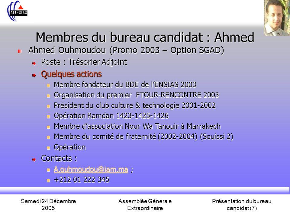 Samedi 24 Décembre 2005 Assemblée Générale Extraordinaire Présentation du bureau candidat (7) Membres du bureau candidat : Ahmed Ahmed Ouhmoudou (Prom