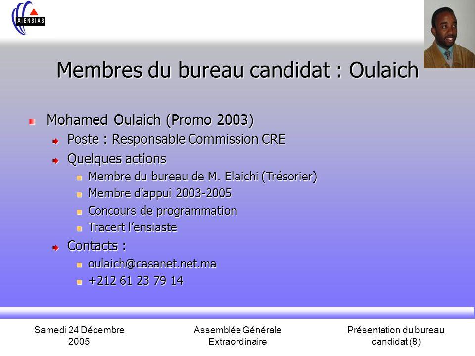 Samedi 24 Décembre 2005 Assemblée Générale Extraordinaire Présentation du bureau candidat (8) Membres du bureau candidat : Oulaich Mohamed Oulaich (Pr