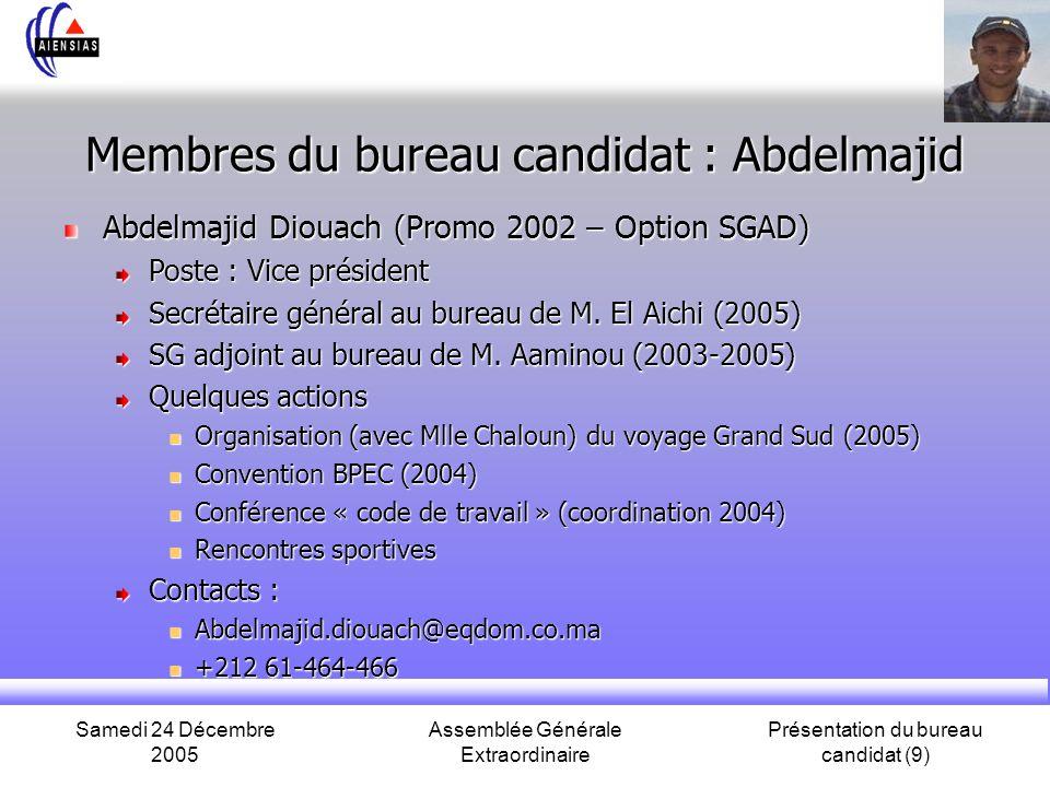 Samedi 24 Décembre 2005 Assemblée Générale Extraordinaire Présentation du bureau candidat (9) Membres du bureau candidat : Abdelmajid Abdelmajid Dioua