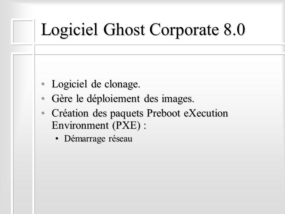 Logiciel Ghost Corporate 8.0 Logiciel de clonage.Logiciel de clonage. Gère le déploiement des images.Gère le déploiement des images. Création des paqu