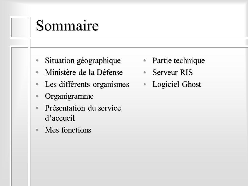 Sommaire Situation géographiqueSituation géographique Ministère de la DéfenseMinistère de la Défense Les différents organismesLes différents organisme