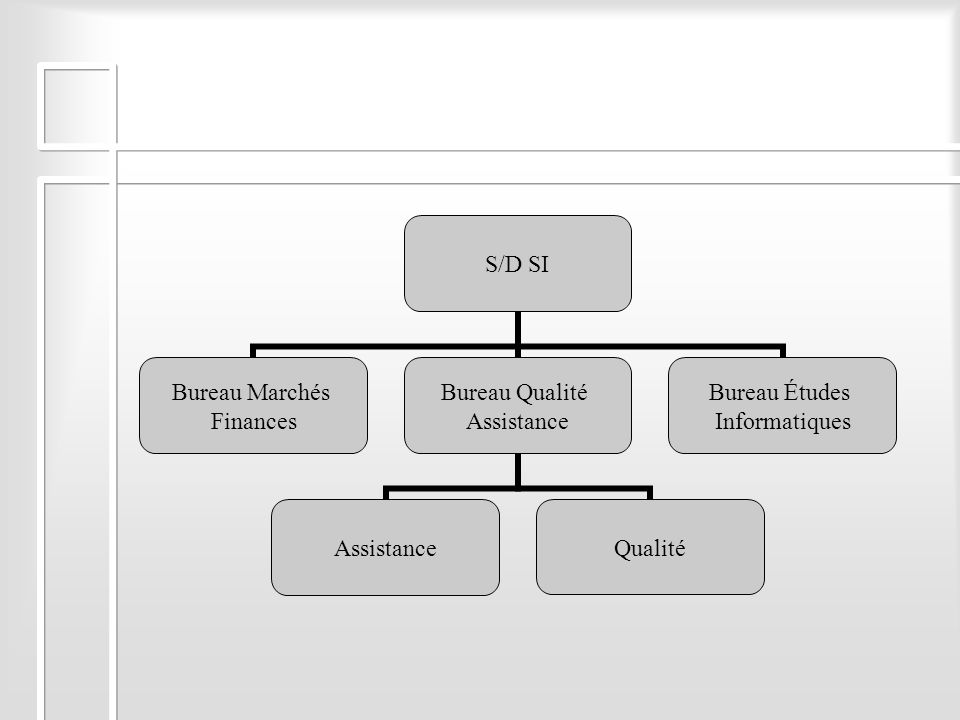 S/D SI Bureau Marchés Finances Bureau Qualité Assistance Qualité Bureau Études Informatiques