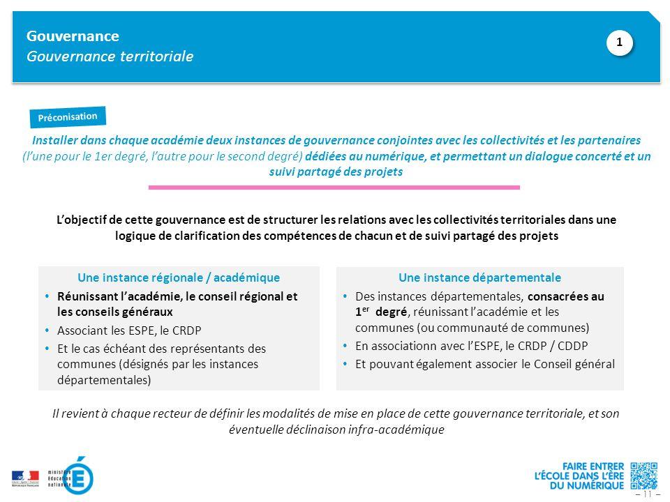 – 11 – Gouvernance Gouvernance territoriale Installer dans chaque académie deux instances de gouvernance conjointes avec les collectivités et les part