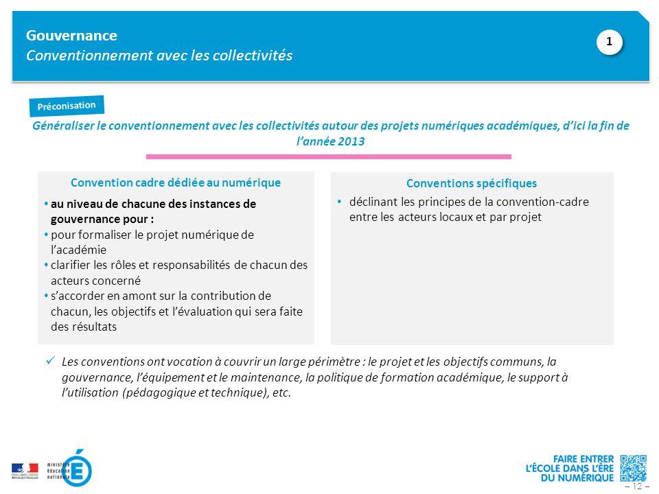 – 12 – Gouvernance Conventionnement avec les collectivités Généraliser le conventionnement avec les collectivités autour des projets numériques académ