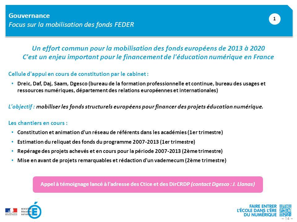 – 14 – Gouvernance Focus sur la mobilisation des fonds FEDER 1 Un effort commun pour la mobilisation des fonds européens de 2013 à 2020 C'est un enjeu