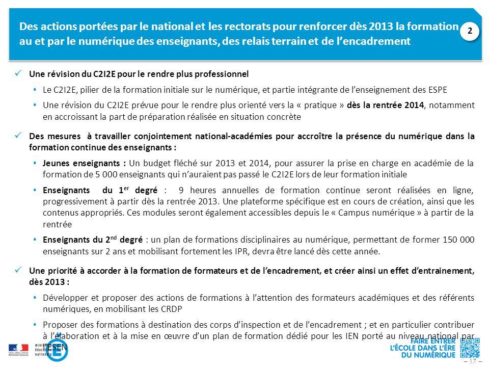 – 17 – Des actions portées par le national et les rectorats pour renforcer dès 2013 la formation au et par le numérique des enseignants, des relais te