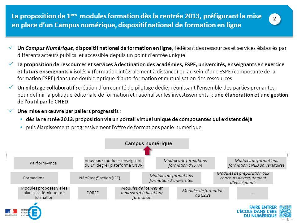 – 18 – La proposition de 1 ers modules formation dès la rentrée 2013, préfigurant la mise en place dun Campus numérique, dispositif national de format