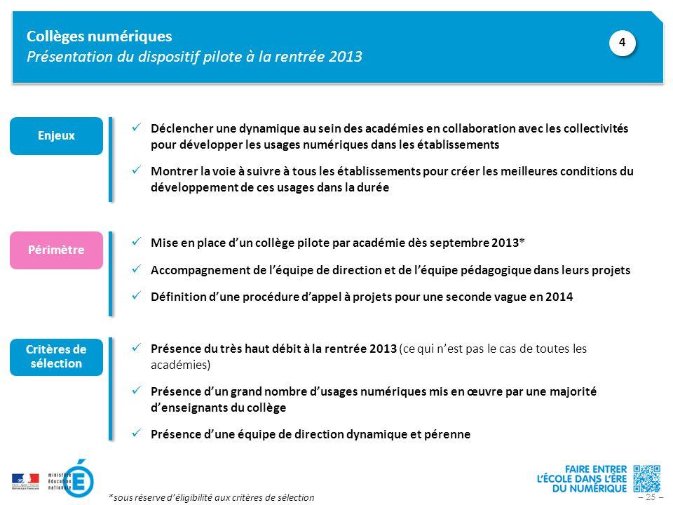 – 25 – Collèges numériques Présentation du dispositif pilote à la rentrée 2013 Mise en place dun collège pilote par académie dès septembre 2013* Accom