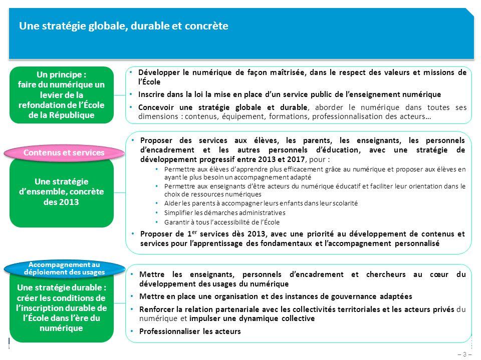 – 34 – Présentation des chantiers – Accompagnement au déploiement des usages / actions « court terme » sur 2013 Renouvellement du partenariat avec la CDC Mise en place de nouvelles offres UGAP pour faciliter léquipement des communes (matériel et maintenance, dont ENT 1 er degré) Mise en place dun appui aux académies et collectivités pour mobiliser les fonds FEDER Lancement par le CGI dun AAP3, centré sur les apprentissages fondamentaux Nouvelle convention MEN-CDC sur le numérique éducatif signée (2013-2016) Cette convention porte notamment sur le THD et les ENT (dont ENT 1 er degré) Travail en cours avec lUGAP (Union des groupements dachat public) pour proposer aux collectivités des offres « packagées » matériel-installation-maintenance Dans ce cadre, travail sur la mise à disposition dune solution ENT libre, adaptée au 1 er degré En cours de mise en place En préparation avec le CGI – principe acté et budget identifié ActionsDétail et Avancement Actions portées conjointement par la DGESCO et le Cabinet Mission conjointe IGF-IGEN-IGAENR sur le développement de la filière du numérique éducatif En cours de lancement – rapport final attendu fin avril 2013