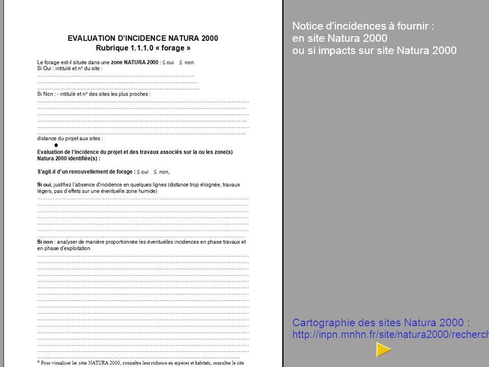 DDTM de la Gironde, MISEN 33 14 Notice d incidences à fournir : en site Natura 2000 ou si impacts sur site Natura 2000 Cartographie des sites Natura 2000 : http://inpn.mnhn.fr/site/natura2000/recherche