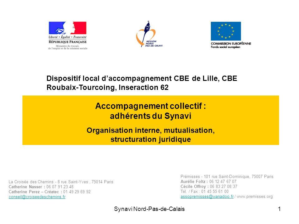 Synavi Nord-Pas-de-Calais1 Accompagnement collectif : adhérents du Synavi Organisation interne, mutualisation, structuration juridique La Croisée des