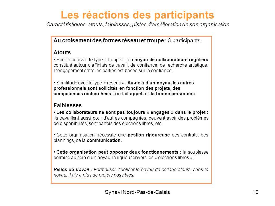 Synavi Nord-Pas-de-Calais10 Les réactions des participants Caractéristiques, atouts, faiblesses, pistes damélioration de son organisation Au croisemen