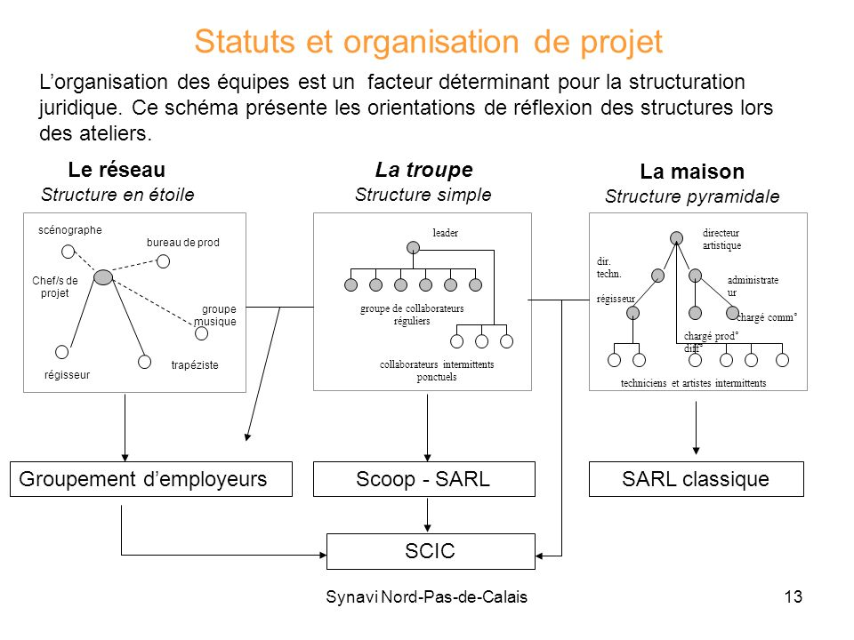 Synavi Nord-Pas-de-Calais13 Statuts et organisation de projet régisseur scénographe trapéziste groupe musique Chef/s de projet bureau de prod Le résea