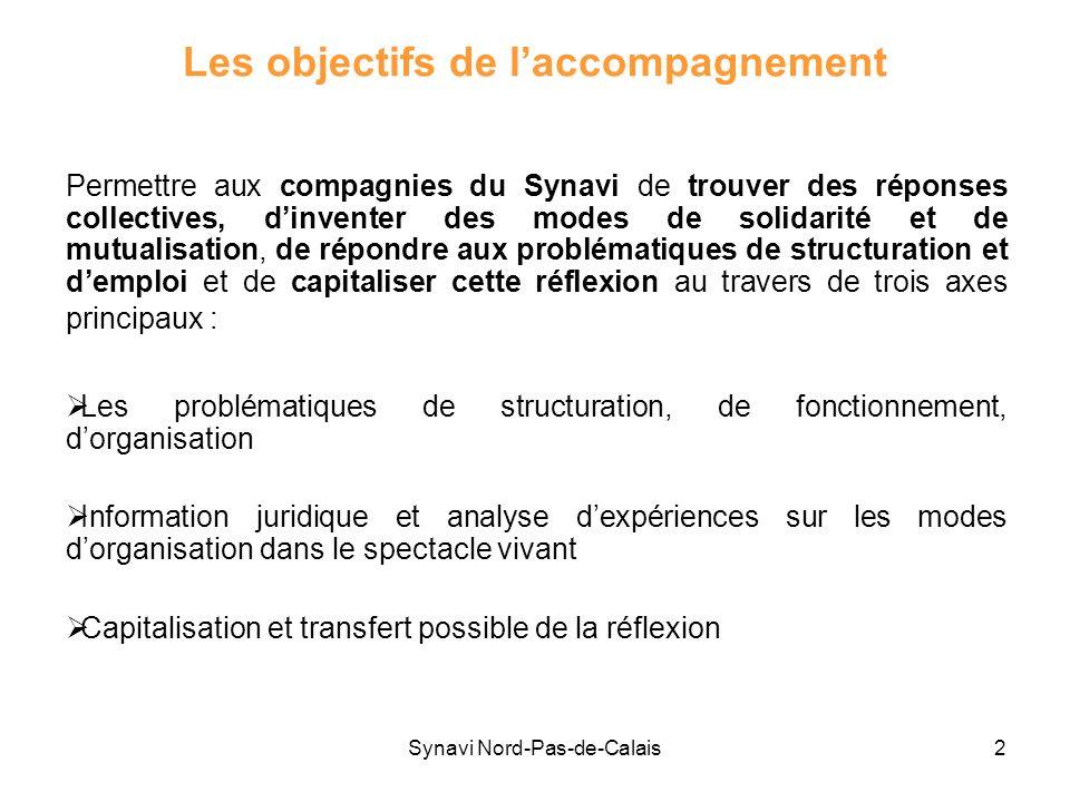 Synavi Nord-Pas-de-Calais2 Les objectifs de laccompagnement Permettre aux compagnies du Synavi de trouver des réponses collectives, dinventer des mode