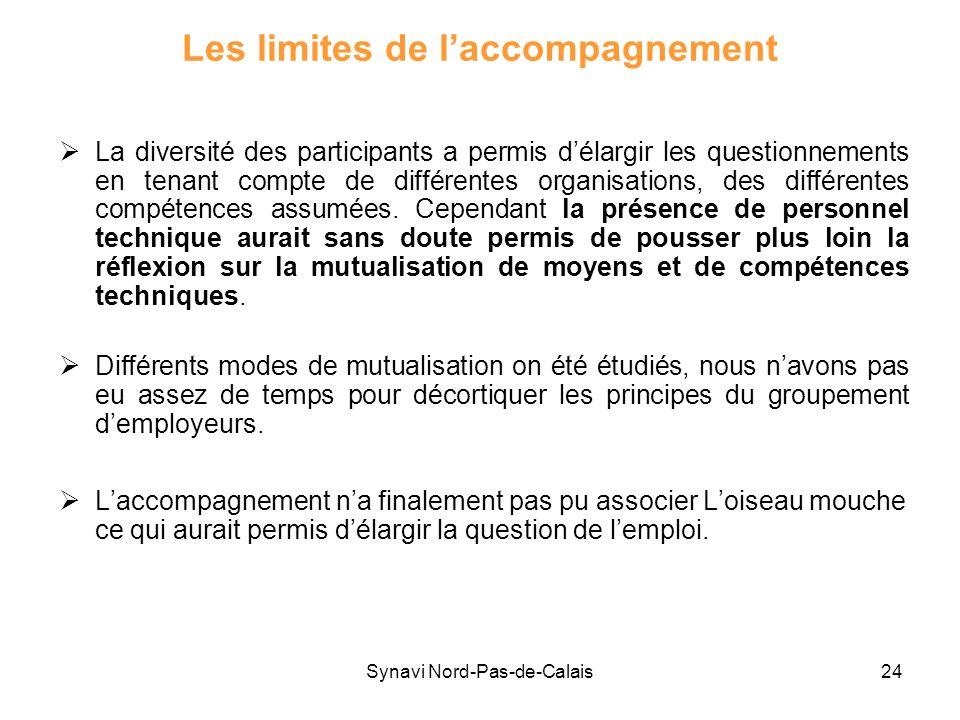 Synavi Nord-Pas-de-Calais24 Les limites de laccompagnement La diversité des participants a permis délargir les questionnements en tenant compte de dif