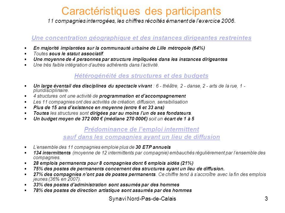 Synavi Nord-Pas-de-Calais3 Caractéristiques des participants 11 compagnies interrogées, les chiffres récoltés émanent de lexercice 2006. Une concentra