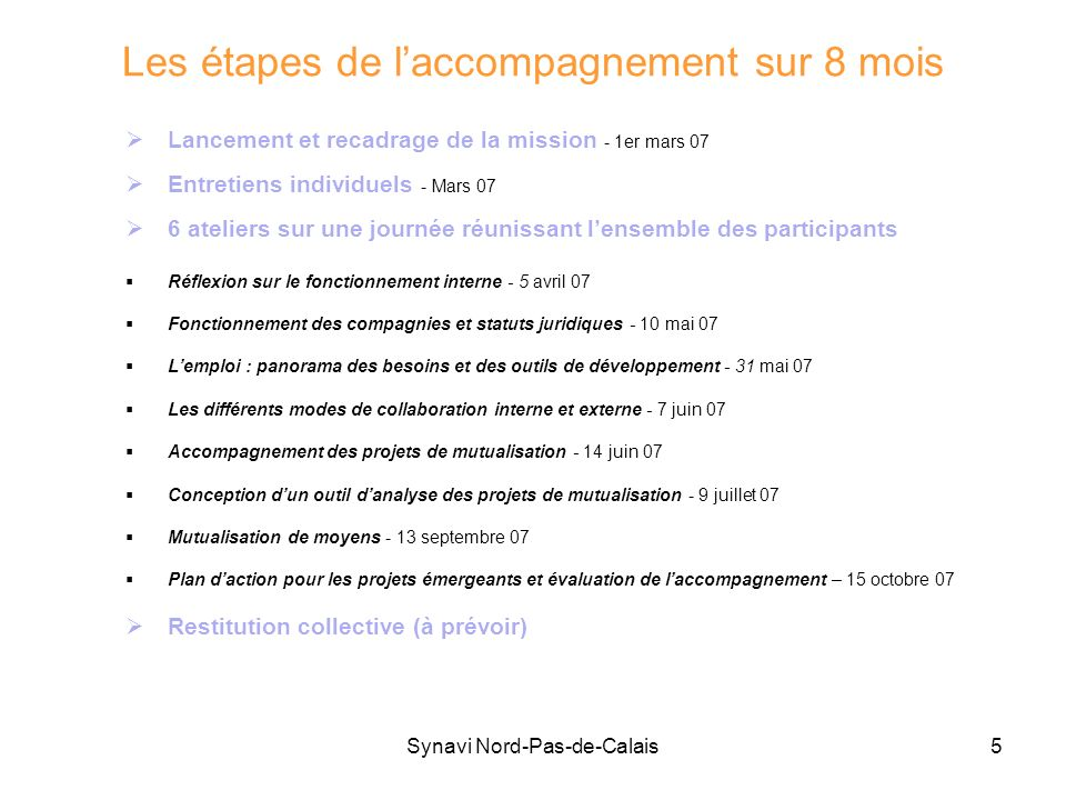 Synavi Nord-Pas-de-Calais5 Les étapes de laccompagnement sur 8 mois Lancement et recadrage de la mission - 1er mars 07 Entretiens individuels - Mars 0