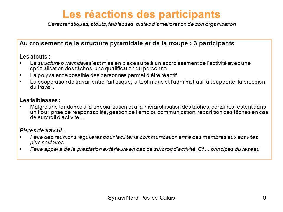 Synavi Nord-Pas-de-Calais9 Les réactions des participants Caractéristiques, atouts, faiblesses, pistes damélioration de son organisation Au croisement