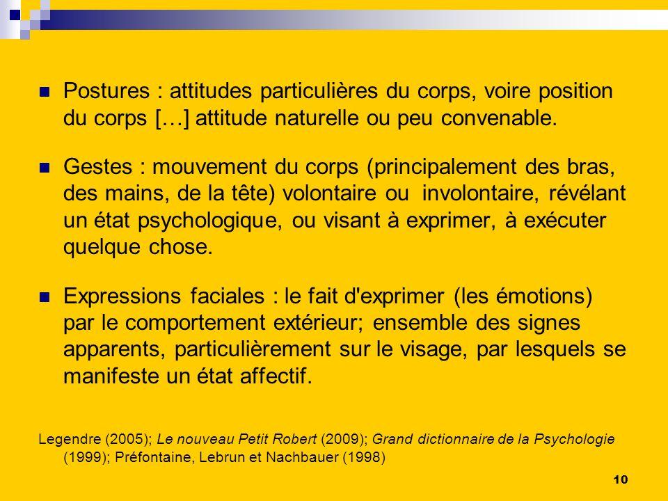 Postures : attitudes particulières du corps, voire position du corps […] attitude naturelle ou peu convenable.