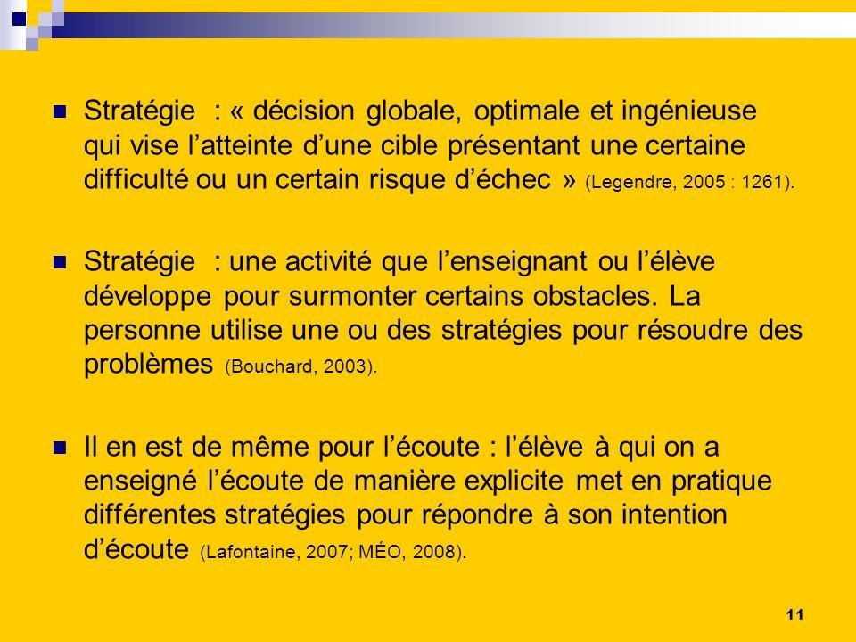 Stratégie : « décision globale, optimale et ingénieuse qui vise latteinte dune cible présentant une certaine difficulté ou un certain risque déchec » (Legendre, 2005 : 1261).