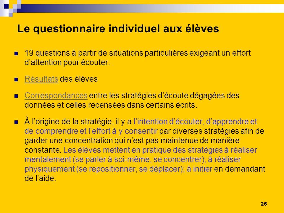 Le questionnaire individuel aux élèves 19 questions à partir de situations particulières exigeant un effort dattention pour écouter.