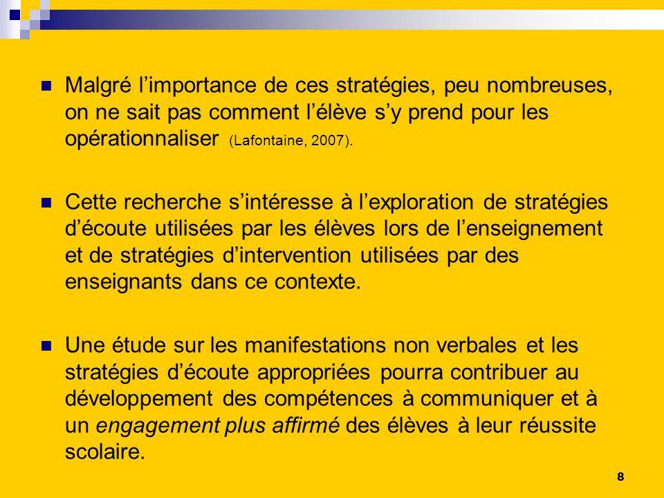 Malgré limportance de ces stratégies, peu nombreuses, on ne sait pas comment lélève sy prend pour les opérationnaliser (Lafontaine, 2007).