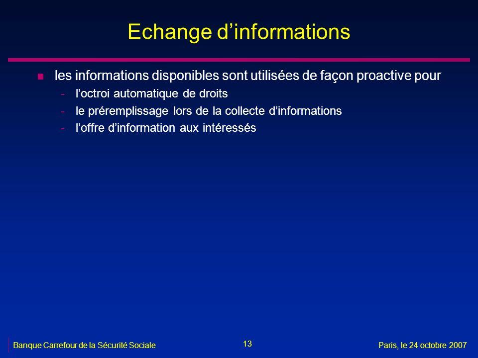 13 Banque Carrefour de la Sécurité SocialeParis, le 24 octobre 2007 Echange dinformations n les informations disponibles sont utilisées de façon proac