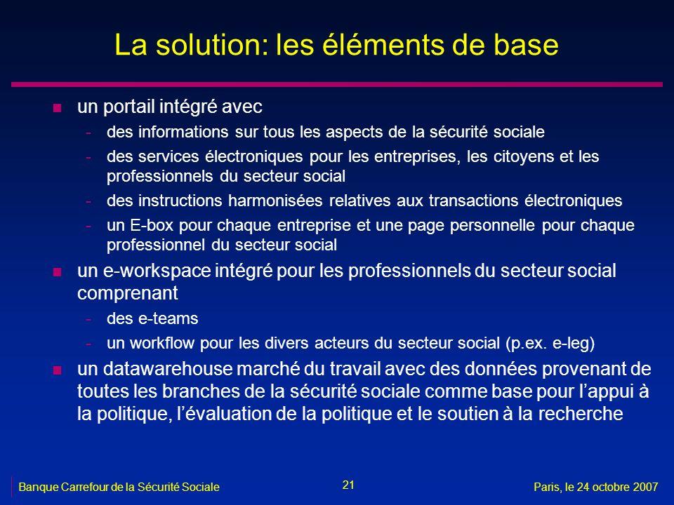 21 Banque Carrefour de la Sécurité SocialeParis, le 24 octobre 2007 La solution: les éléments de base n un portail intégré avec -des informations sur