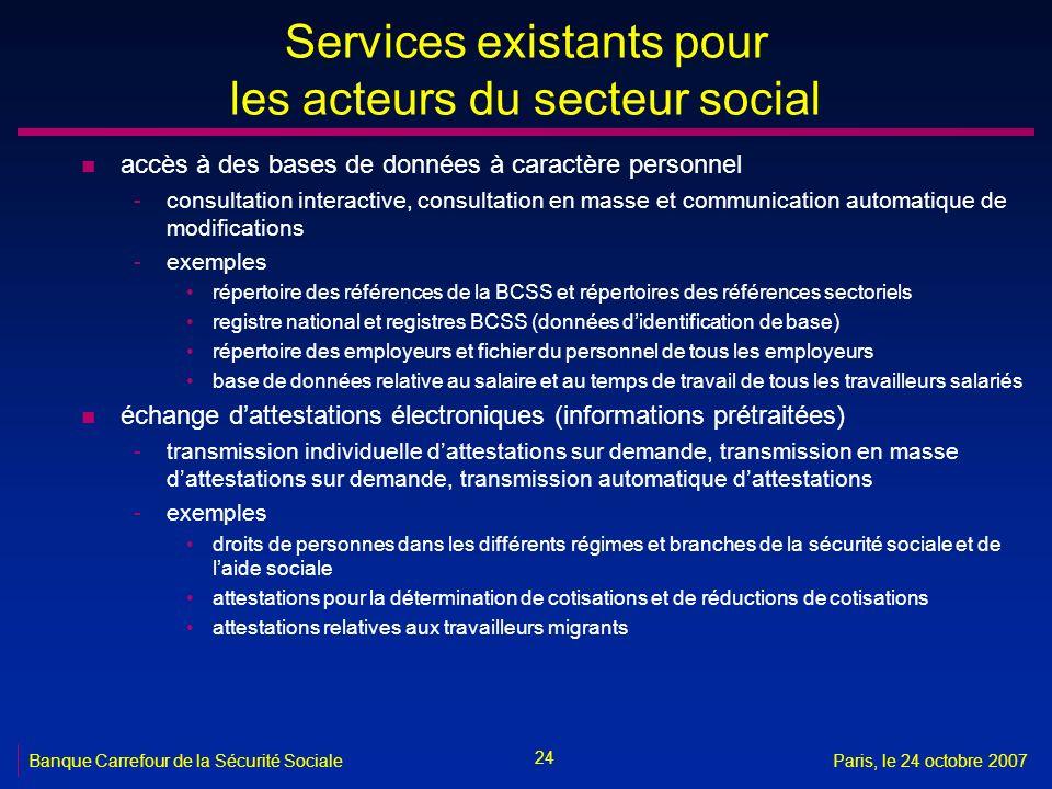 24 Banque Carrefour de la Sécurité SocialeParis, le 24 octobre 2007 Services existants pour les acteurs du secteur social n accès à des bases de donné