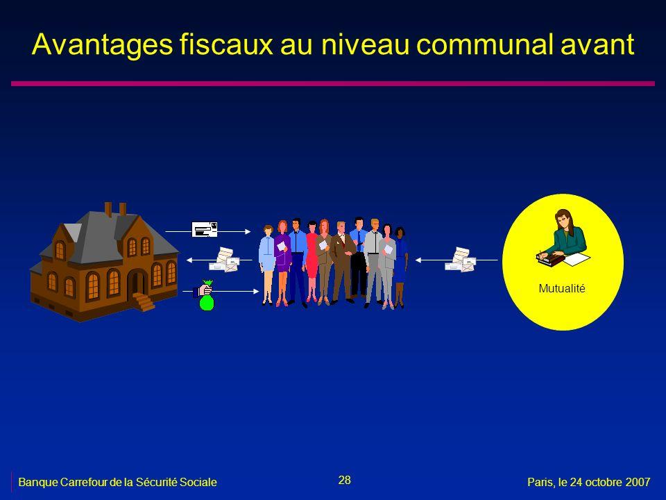 28 Banque Carrefour de la Sécurité SocialeParis, le 24 octobre 2007 Avantages fiscaux au niveau communal avant Mutualité